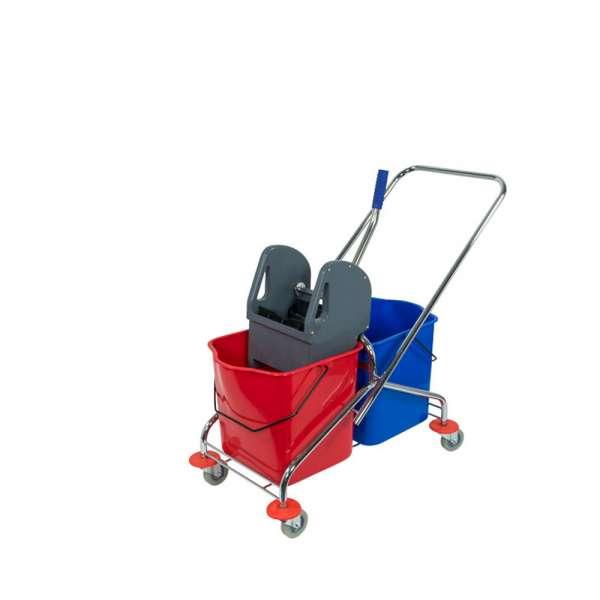 Fahrwagen chrom Doppelfahreimer mit 2x 27 Liter Eimer in rot und blau mit Mopppresse