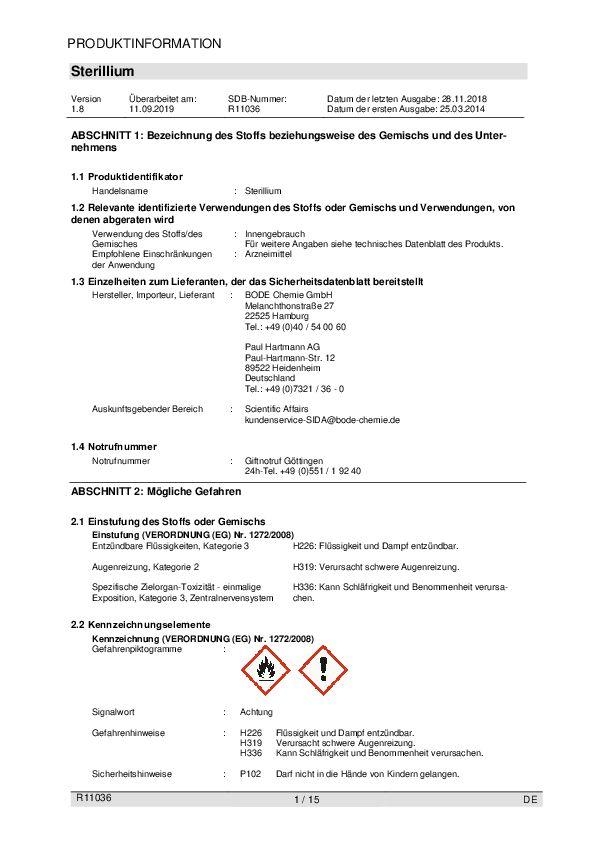 Sicherheitsdatenblatt Bode Sterillium