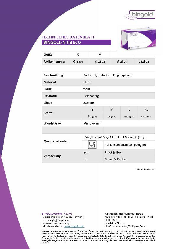 Technisches Datenblatt Nitril Eco Einmalhandschuhe