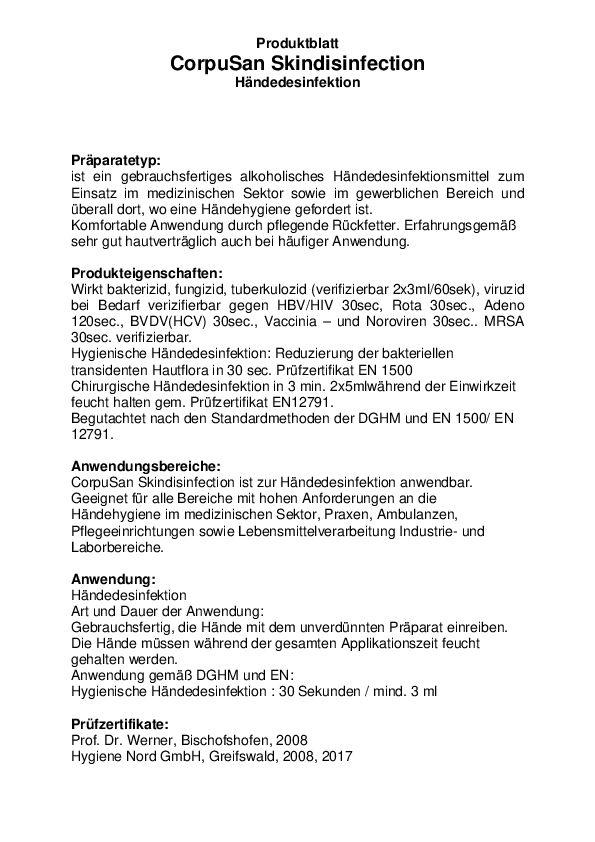 Corpusan Händedesinfektion Datenblatt