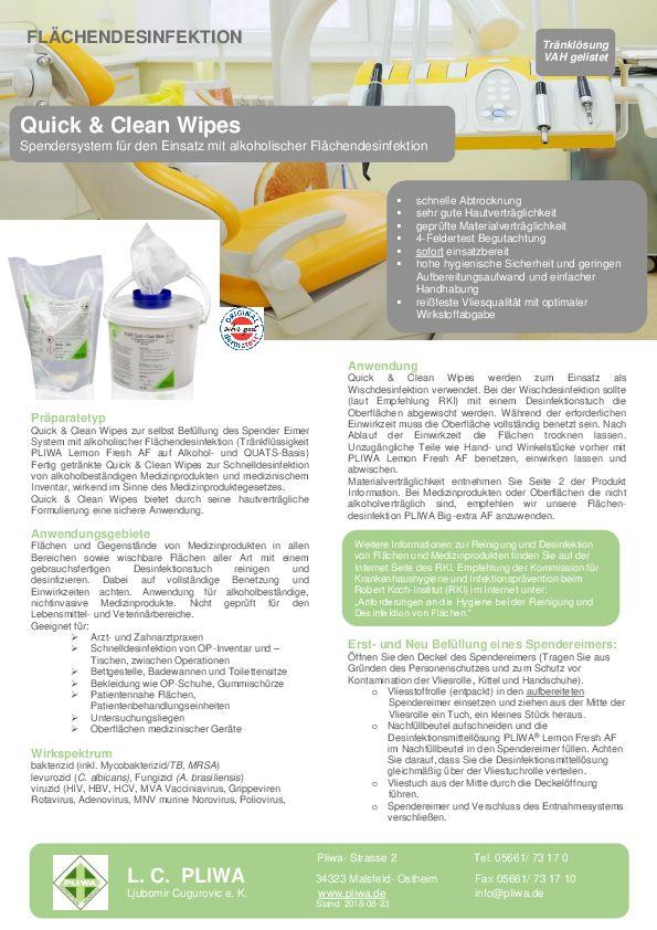 Produktinformation Desinfektionstücher